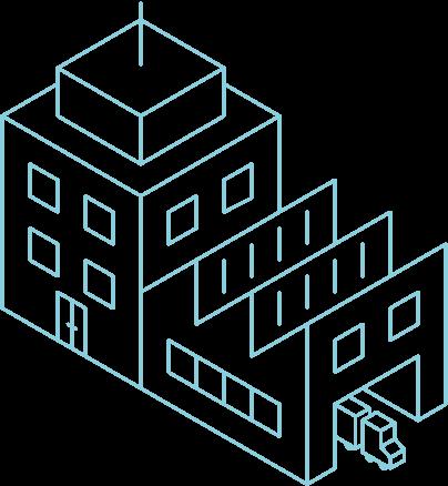 Illustration eines Firmengebäudes von oben
