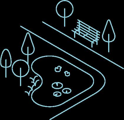 Grafik einer Parkanlage mit Enten im Teich