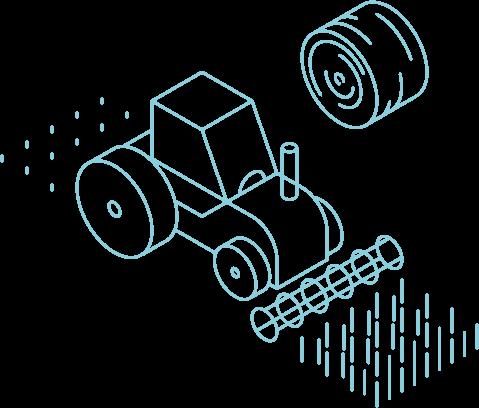 Grafische Darstellung eines Traktors beim Ackerbau