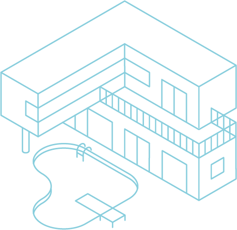 Grafik einer modernen Immobilie mit Pool