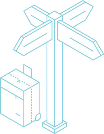 Grafik eines Wegweisers mit abgestelltem Koffer