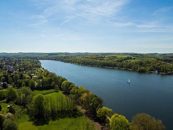 Grüne Landschaft am See unter blauem Himmel im Ruhrgebiet