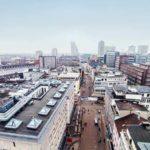 Luftaufnahme der Geschäftsgebäude in der Innenstadt von Essen