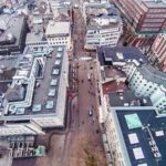 Luftaufnahme der Einkaufsstrasse in der Innenstadt von Essen