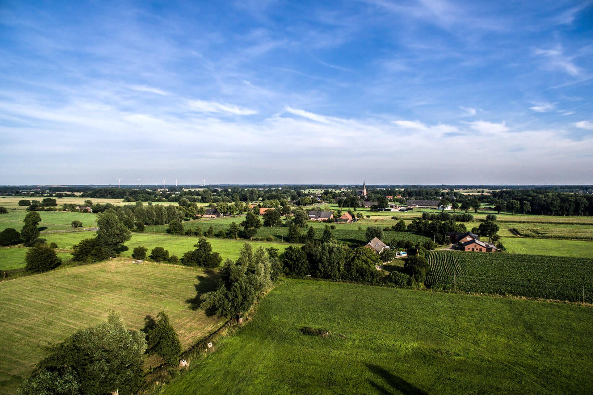 Luftbild von einer Landschaft in NRW