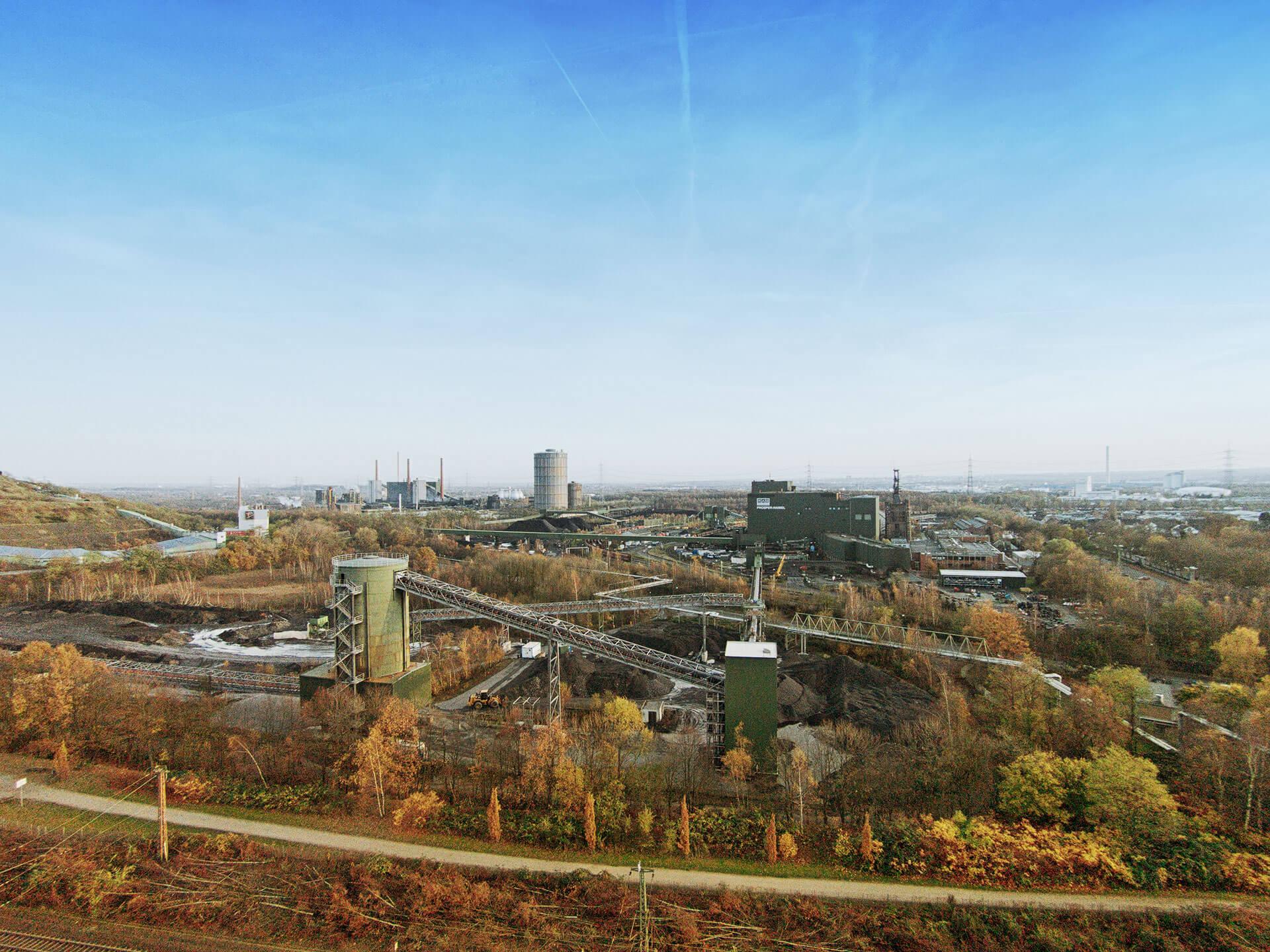 Luftbild von der Industrie im Ruhrgebiet