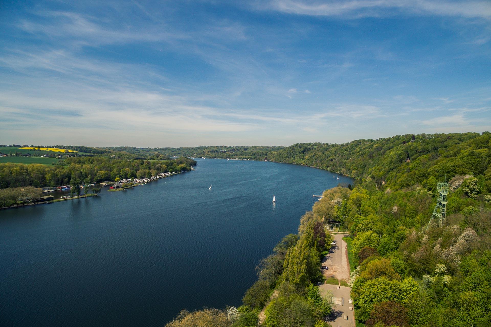 Luftbild von einem Fluss in grüner Landschaft