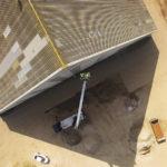 Draufsicht von Bauarbeiten am Dach