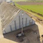 Dacharbeien aus der Luft mit Drohne aufgenommen